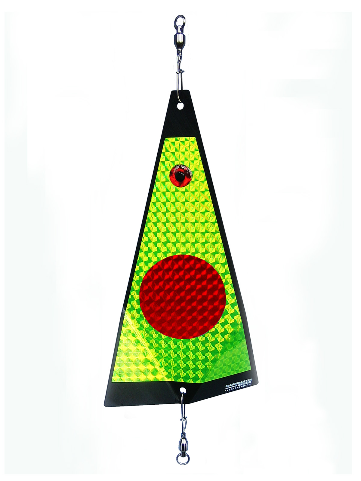 ko red dot on chartreuse fishing lure