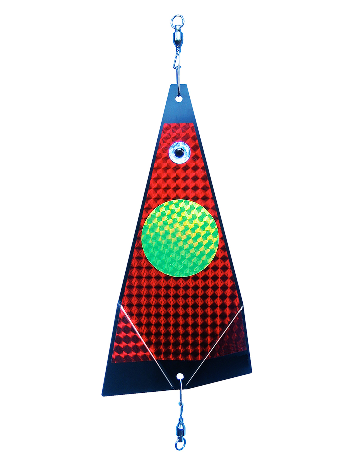 ko chartreuse dot on red fishing lure